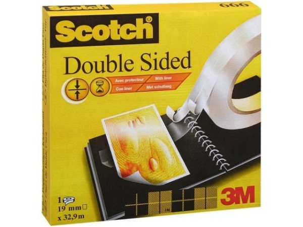 Klebeband Scotch Doppelseitig 666 19mmx33m 7,5cm
