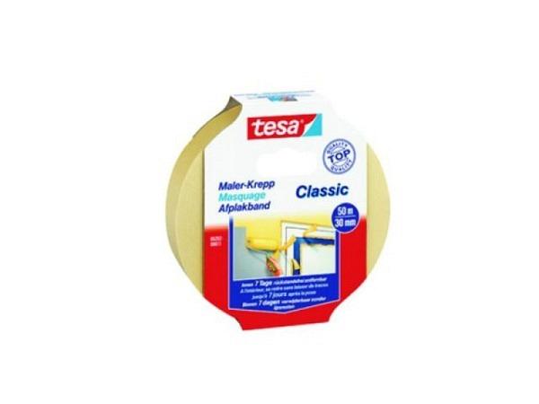 Abdeckband Tesa Classic 30mmx50m Malerkrepp für gerade, saubere Farbkanten, rückstandsfrei entfernbar, für glatte Untergründe im Innenbereich, 5282