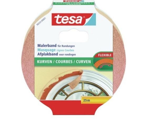 Abdeckband Tesa Flexible 19mmx25m, Malerkrepp, stark dehnbar daher auch gut geeignet für Kurvenklebungen, rückstandsfrei ablösbar innert 7 Tagen, lösungsmittelfrei