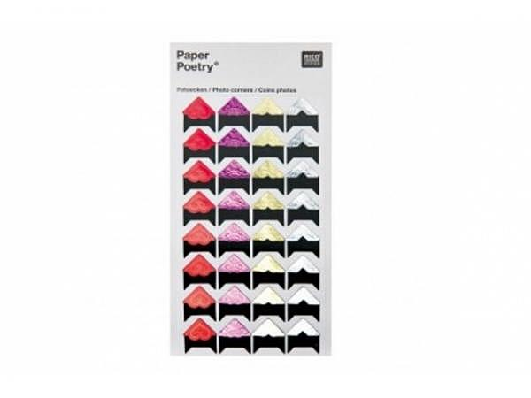 Fotoecken PaperPoetry farbig gemischt, 32 Stk.