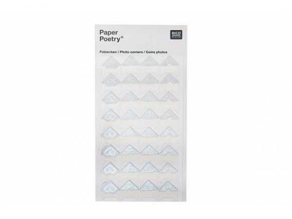 Fotoecken PaperPoetry silber, 32 Stk.