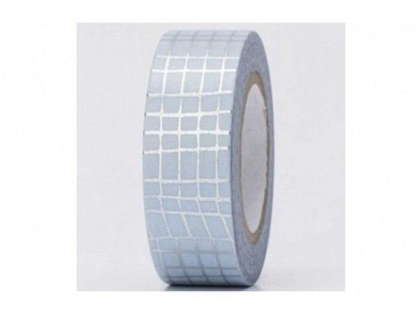 Klebeband PaperPoetry Hot Foil Gitter silber auf hellblau, 15mm breit, 10m lang. Selbstklebendes Was