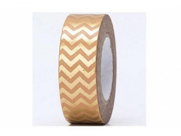 Klebeband PaperPoetry Hot Foil Gold Zickzack gold, 15mm breit, 10m l..