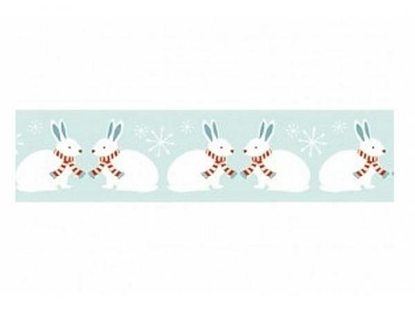 Klebeband PaperPoetry Winterwald Hasen auf hellblau, 15mm breit, 10m lang. Selbstklebendes Washi-Tap