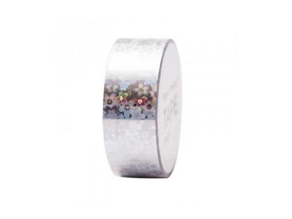 Klebeband PaperPoetry Hot Foil Holographic Blumen silber