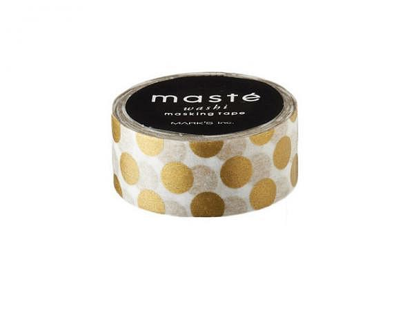 Klebeband Mark's Masté Washi Masking Tape Gold Polka Dots