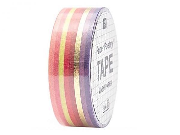 Klebeband PaperPoetry Bullet Diary Tapes Streifen rot/gold