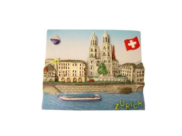 Magnet Zürich City mit Grossmünster, Limmat, Schiff, Wappen