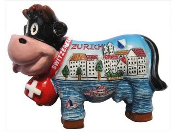 Magnet Zürich Funny cow Schweizerkuh Glocke mit Stadt Zürich