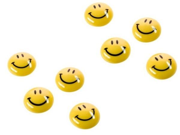 Magnet Magnetoplan Smiley gelb-schwarz mit abgerund