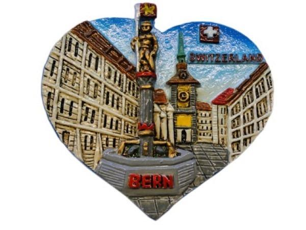 Magnet Bern Zytglogge mit Zähringerbrunnen in Herzform