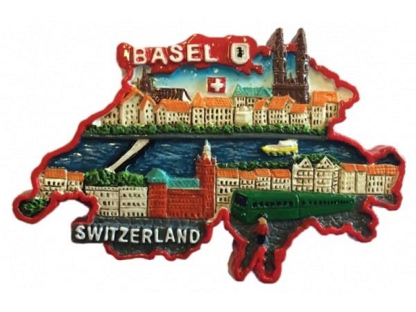 Magnet Basel Umriss Schweiz bunt bemalt