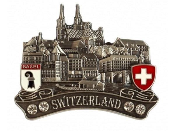Magnet Basel Stadt-Ansicht Metall mit Strasssteinen veredelt