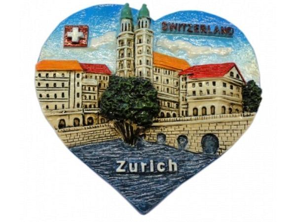 Magnet Zürich City Herzform mit Grossmünster, Limmat, Wappen