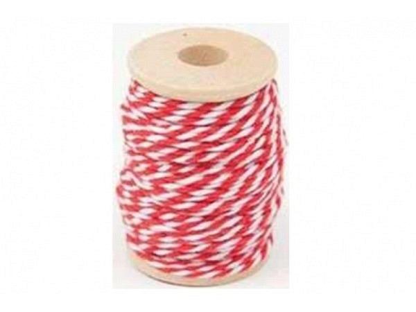 Schnur PaperPoetry Baumwollgarn Rot/Weiss, aus 100% Baumwolle, 15 Meter auf Holzspule aufgespult