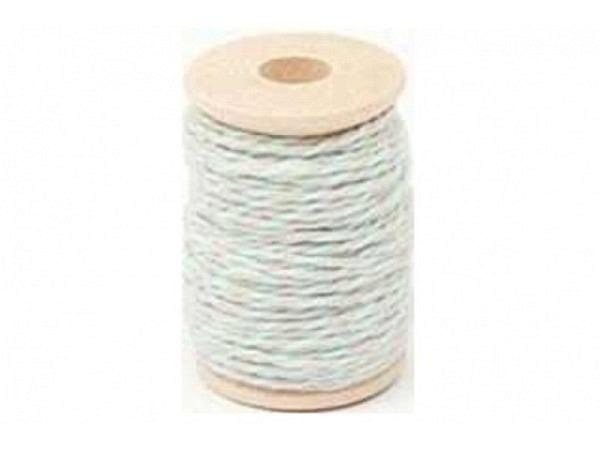 Schnur PaperPoetry Baumwollgarn Sand/Grün, aus 100% Baumwolle, 15 Meter auf Holzspule aufgespult