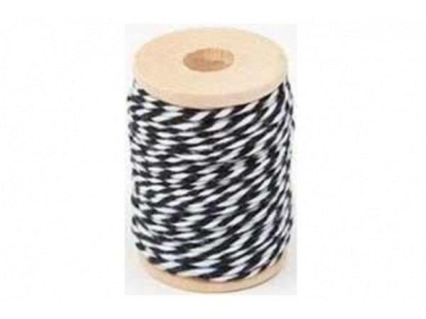 Schnur PaperPoetry Baumwollgarn Schwarz/Weiss, aus 100% Baumwolle, 15 Meter auf Holzspule aufgespult