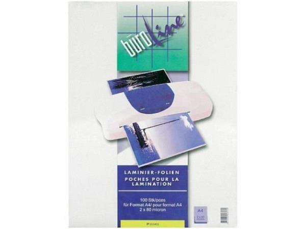 Laminierfolie Büroline glänzend A4 216x303mm 2x80Mikron, 100Stk