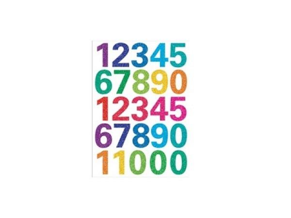 Zahlen Herma 84x120mm 0-9 Glitter farbig, selbstklebend