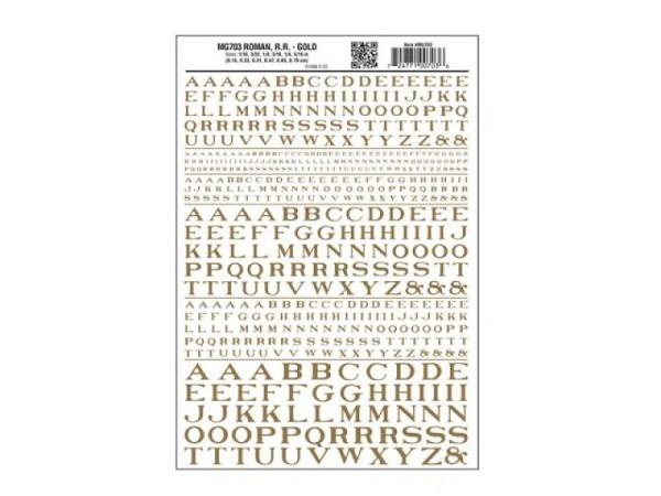 Abreibbuchstaben Woodland Scenics Roman 1,5mm, 2,3mm, 3,1mm, 4,7mm, 6,3mm und 7,9mm hoch