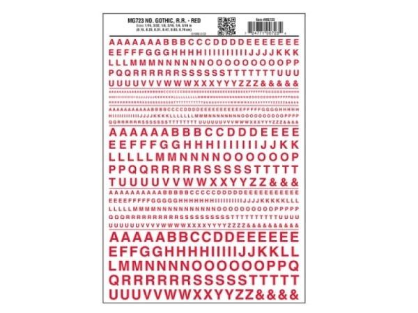 Abreibbuchstaben Woodland Scenics Gothic 1,5mm, 2,3mm, 3,1mm, 4,7mm, 6,3mm und 7,9mm hoch