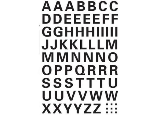 Buchstaben Herma 84x120mm A-Z 10mm hoch schwarz