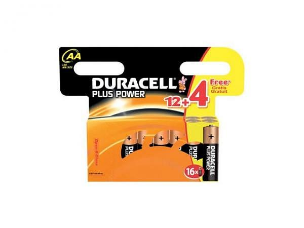 Batterien Duracell Plus Power AA 1,5V 12+4Stk