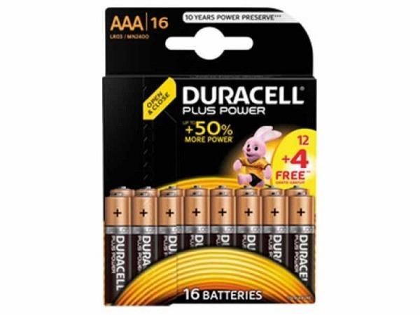Batterien Duracell Plus Power AAA 1,5V 12+4Stk., längere Lebensdauer als herkömmliche Duracell Plus