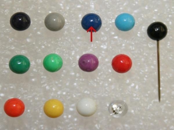 Landkartennadeln Alco 5mm Kopfd. 16mm farbig assortiert
