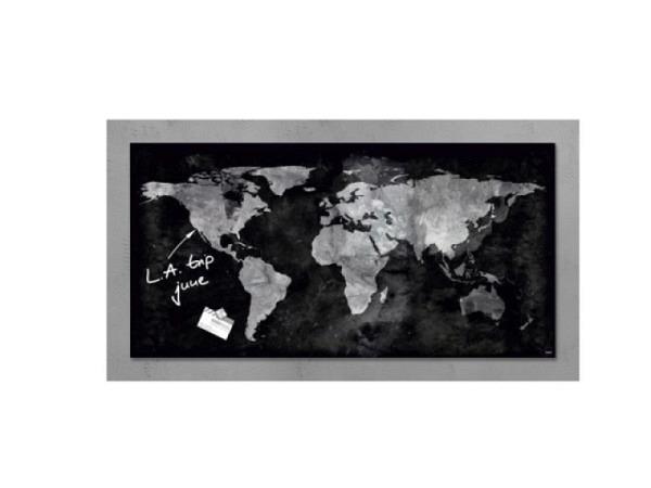 Magnettafel Sigel Artverum Weltkarte schwarz 46x91cm, 1,5cm