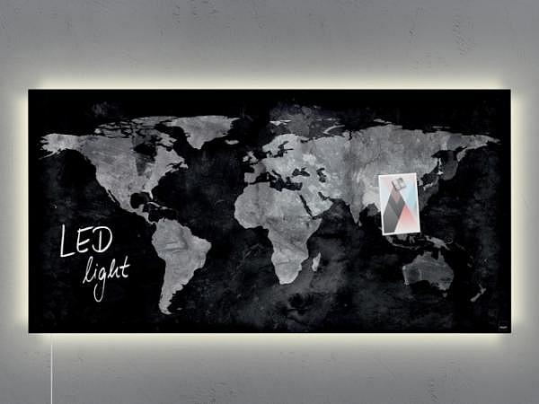 Magnettafel Sigel Artverum World Map 96x46cm LED-light