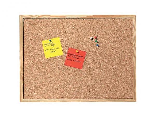 Pinwand mit Holzrahmen, Aufhänger, Pins 45x60cm