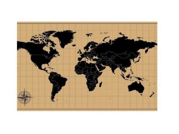 Pinwand Wordl-Map 40x60cm mit Holzrahmen