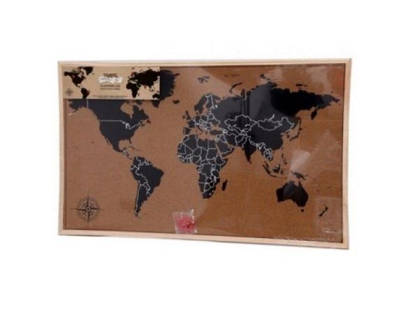 Pinwand World-Map 60x90cm mit Holzrahmen