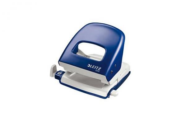 Locher Leitz 5008 blau, robuster Metalllocher für den Einsatz im Büro und Zuhause. Stanzleistung bis ca. 30 Blatt 80g/qm, geringer Kraftbedarf dank patentierter Griffmulde und scharfer Lochstempel, stabil einrastende Anschlagschiene mit farbigen, klar..