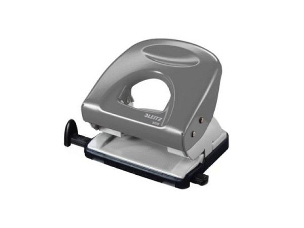 Locher Leitz 5008 grau, robuster Metalllocher für den Einsatz im Büro und Zuhause. Stanzleistung bis ca. 30 Blatt 80g/qm, geringer Kraftbedarf dank patentierter Griffmulde und scharfer Lochstempel, stabil einrastende Anschlagschiene mit farbigen, klar..