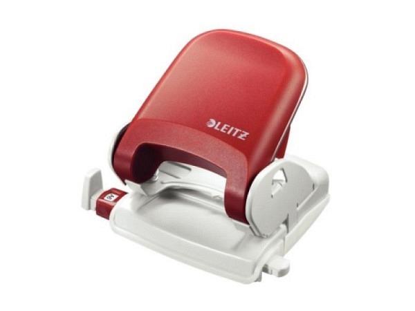 Locher Leitz 5005 rot bis 2,5mm Stanzvermögen, aus Metall, Oberteil mit Metallrahmen und Kunstoffeinsatz, mit Anschlagschiene