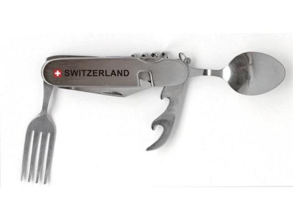 Messer Switzerland Picknicktool silber mit Gabel und Löffel