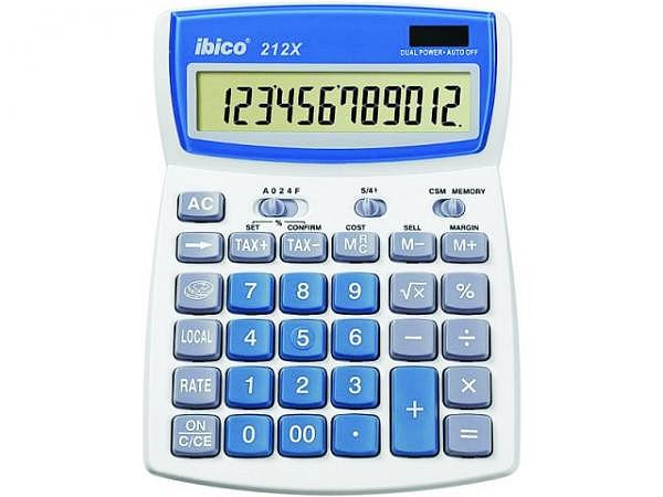 Taschenrechner Ibico 212X blau-lichtgrau 12stellig