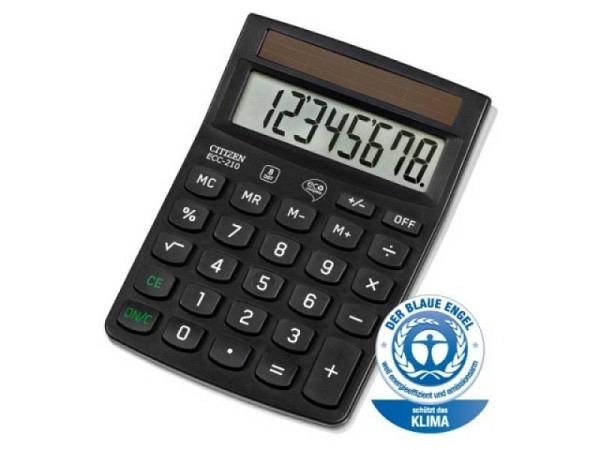 Taschenrechner Citizen ECC-210 schwarz, Solarbetrieb