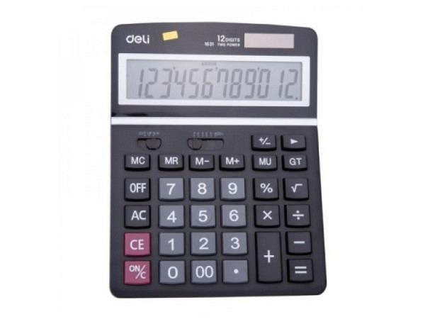 Taschenrechner Deli E1631 Big Display schwarz-grau Dualpower