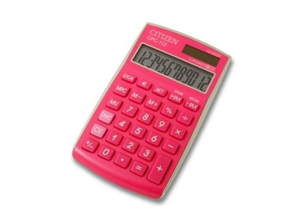 Taschenrechner Citizen CPC-112 pink, 12stelliges Display