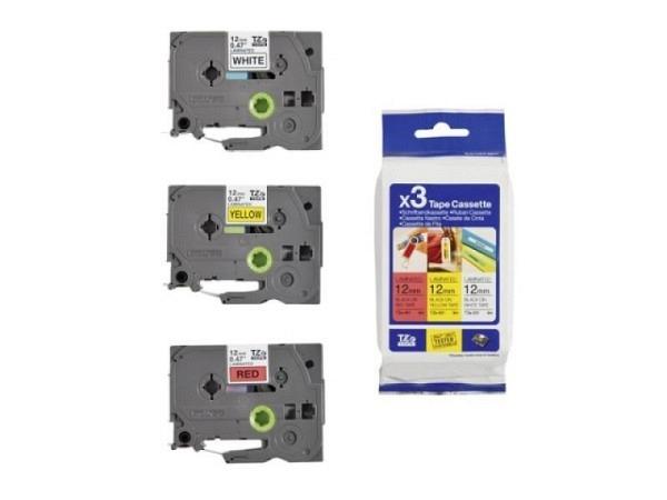 Beschriftungsband Brother P-Touch TZe 12mm breit Multipack