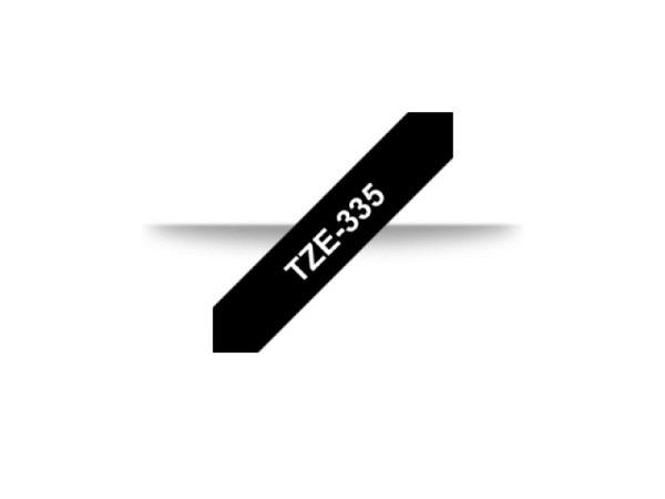 Beschriftungsband Brother P-Touch TZe 12mm weiss auf schwarz