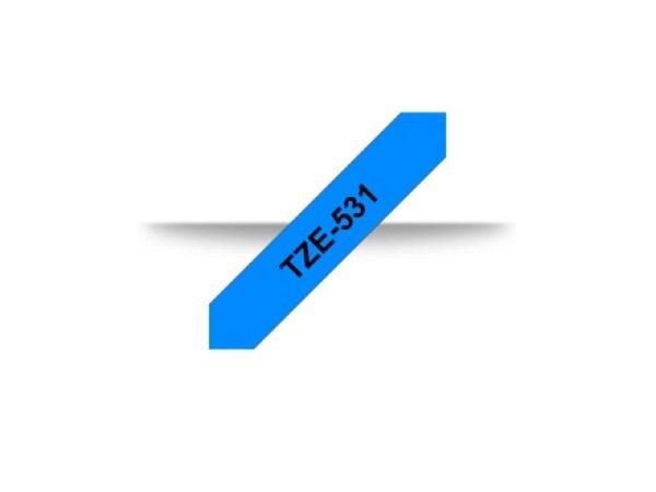 Beschriftungsband Brother P-Touch TZe 12mm, schwarz auf blau