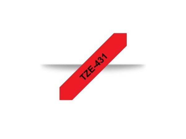 Beschriftungsband Brother P-Touch TZe 12mm, schwarz auf rot