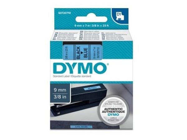 Beschriftungsband Dymo 9mm breit schwarz auf blau