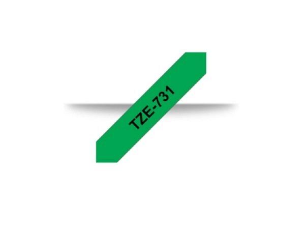 Beschriftungsband Brother P-Touch TZe 12mm schwarz auf grün