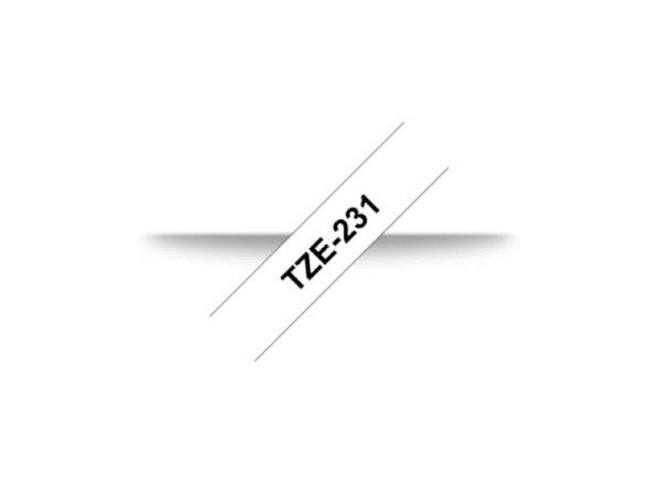 Beschriftungsband Brother P-Touch TZe 12 schwarz auf weiss