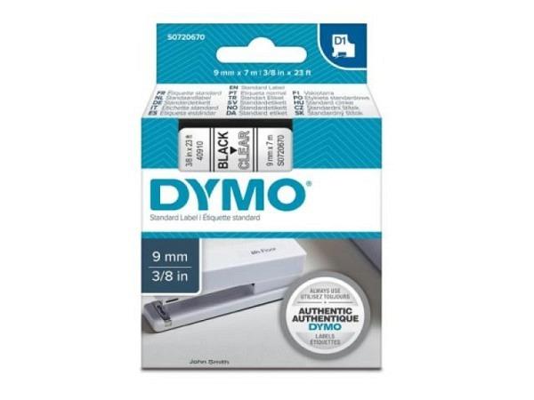 Beschriftungsband Dymo 9mm breit schwarz auf transparent